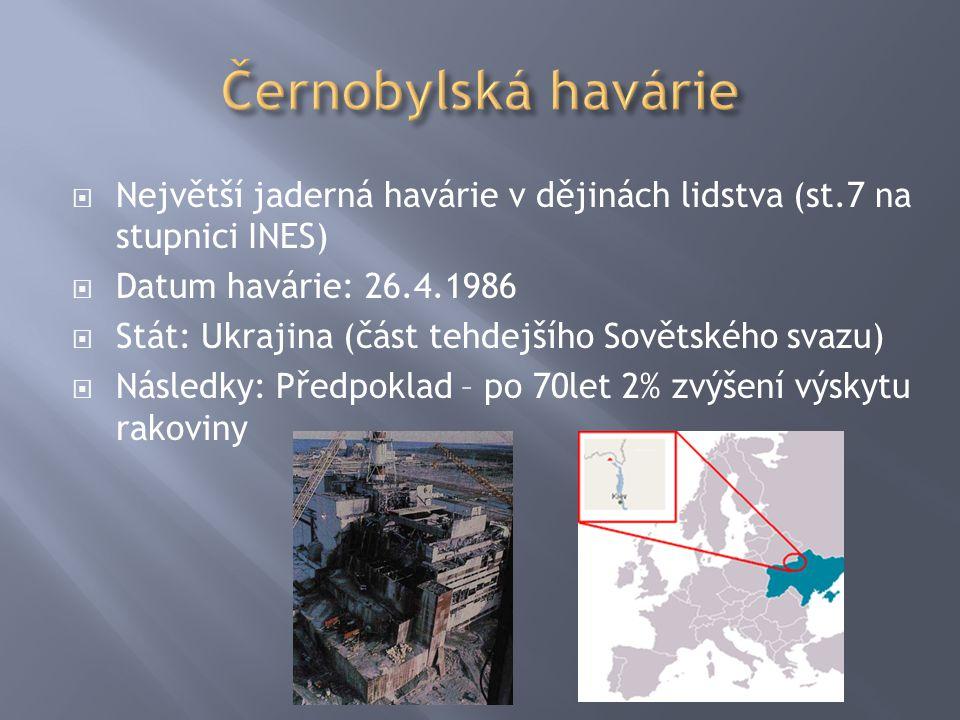  Největší jaderná havárie v dějinách lidstva (st.7 na stupnici INES)  Datum havárie: 26.4.1986  Stát: Ukrajina (část tehdejšího Sovětského svazu) 