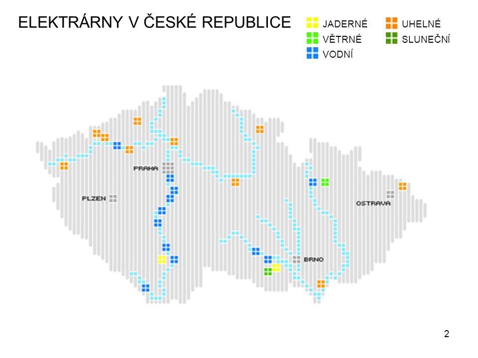 2 ELEKTRÁRNY V ČESKÉ REPUBLICE JADERNÉUHELNÉ VODNÍ SLUNEČNÍVĚTRNÉ