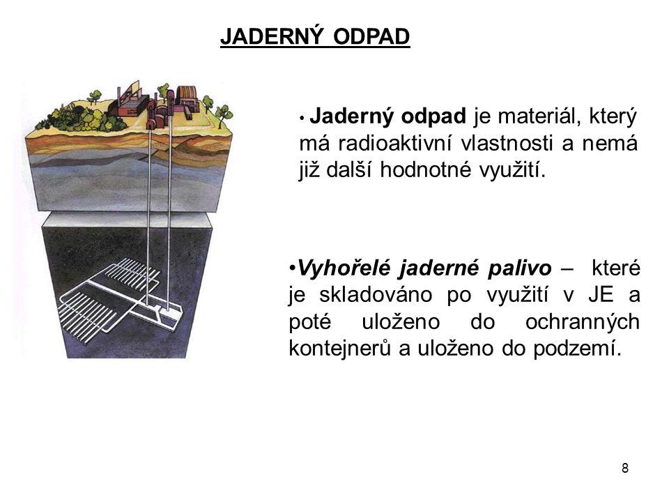 8 JADERNÝ ODPAD Jaderný odpad je materiál, který má radioaktivní vlastnosti a nemá již další hodnotné využití. Vyhořelé jaderné palivo – které je skla