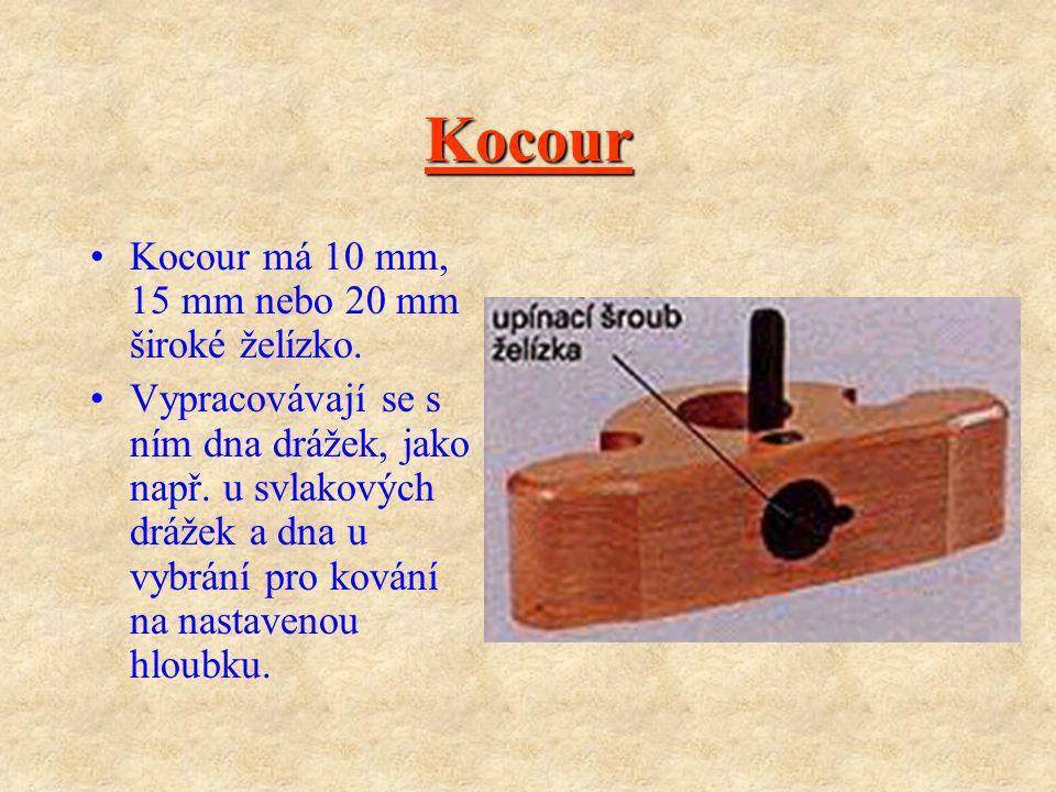 Drážkovník S drážkovníkem lze vytvářet podle šířky použitého želízka drážky různých šířek. Dorazy umožňují nastavení hloubky drážek a polohu drážky