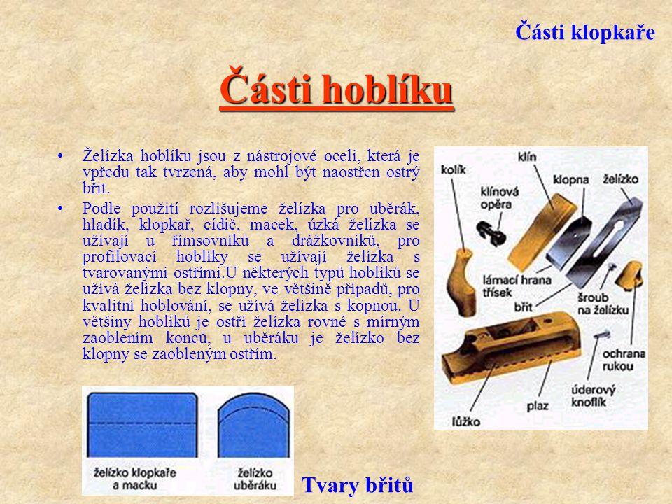 Nástroje k hoblování Pod pojmem hoblování se rozumí oddělování třísek z dřevěné plochy za pomoci hoblíku. Části hoblíku Hoblíky se zpravidla skládají