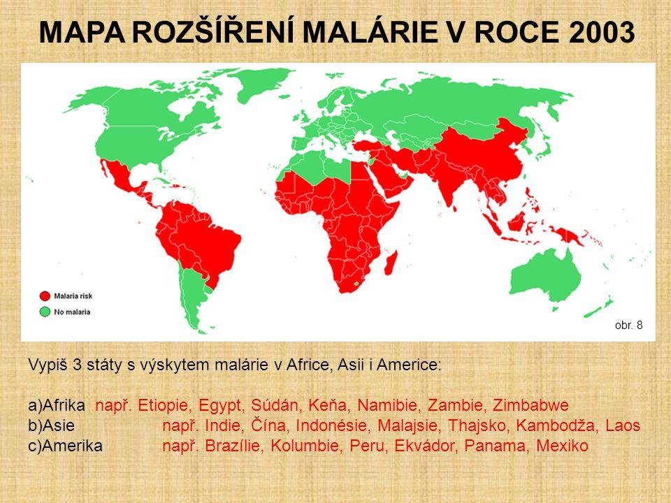MAPA ROZŠÍŘENÍ MALÁRIE V ROCE 2003 Vypiš 3 státy s výskytem malárie v Africe, Asii i Americe: a)Afrika např. Etiopie, Egypt, Súdán, Keňa, Namibie, Zam