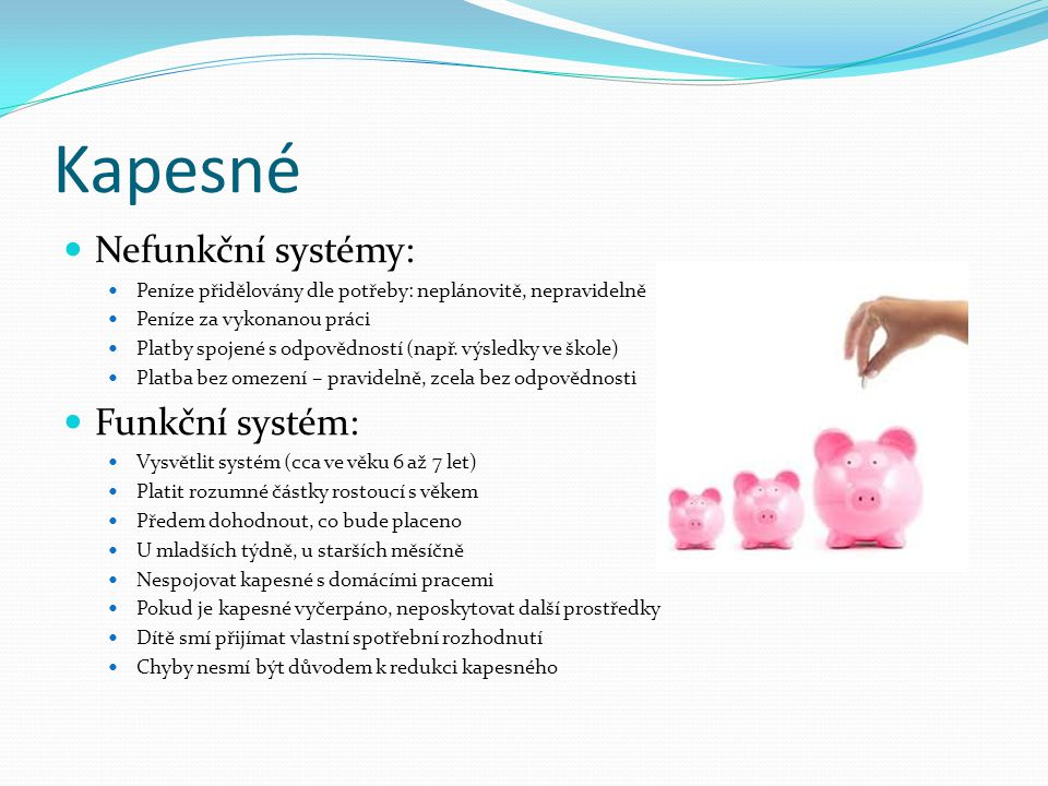 Kapesné Nefunkční systémy: Peníze přidělovány dle potřeby: neplánovitě, nepravidelně Peníze za vykonanou práci Platby spojené s odpovědností (např. vý