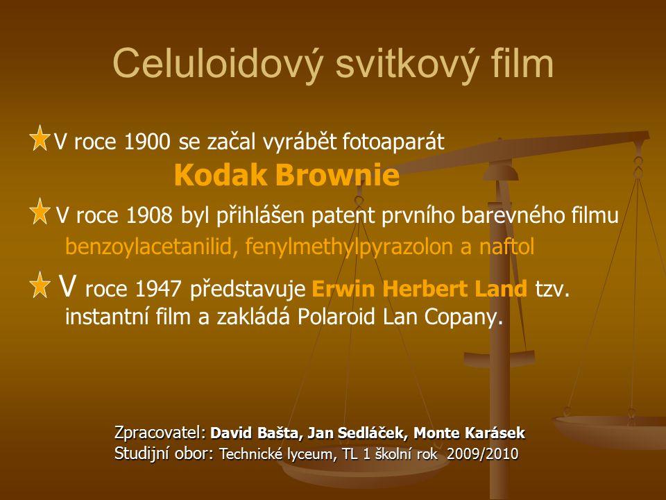 Celuloidový svitkový film V roce 1900 se začal vyrábět fotoaparát Kodak Brownie V roce 1908 byl přihlášen patent prvního barevného filmu benzoylacetan