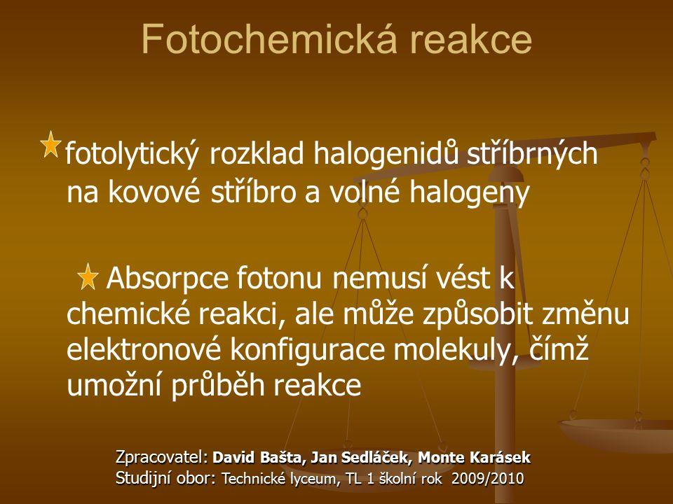 Fotochemická reakce fotolytický rozklad halogenidů stříbrných na kovové stříbro a volné halogeny Absorpce fotonu nemusí vést k chemické reakci, ale mů