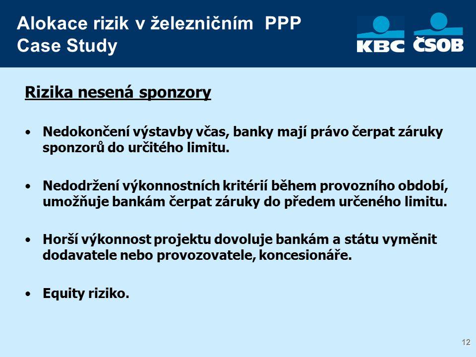 12 Rizika nesená sponzory Nedokončení výstavby včas, banky mají právo čerpat záruky sponzorů do určitého limitu.