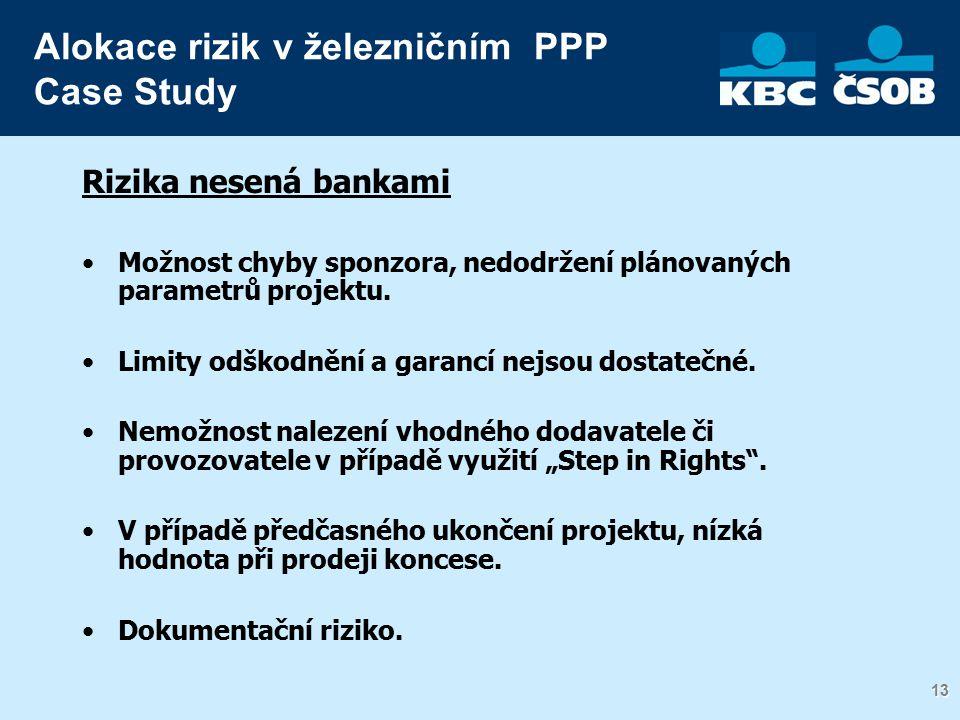 13 Rizika nesená bankami Možnost chyby sponzora, nedodržení plánovaných parametrů projektu.