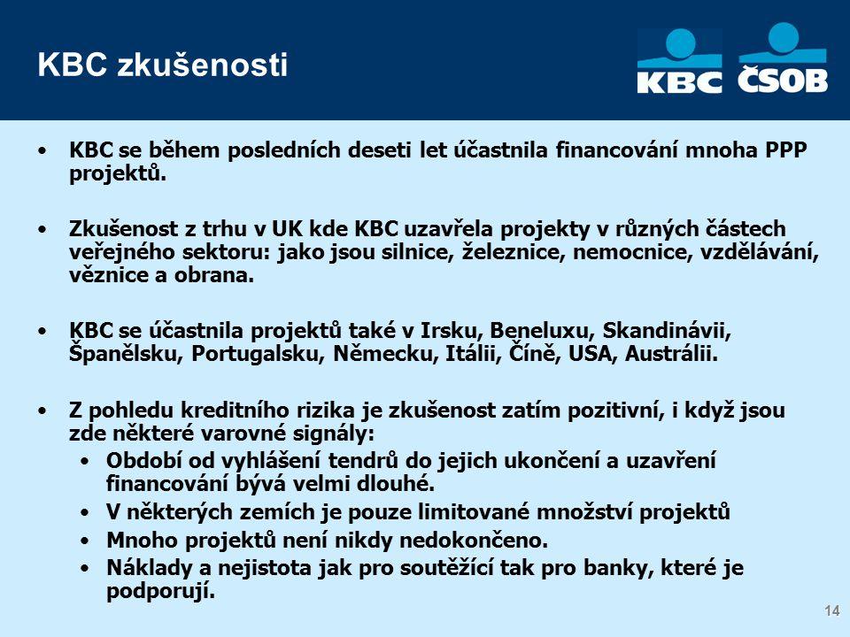 14 KBC zkušenosti KBC se během posledních deseti let účastnila financování mnoha PPP projektů.