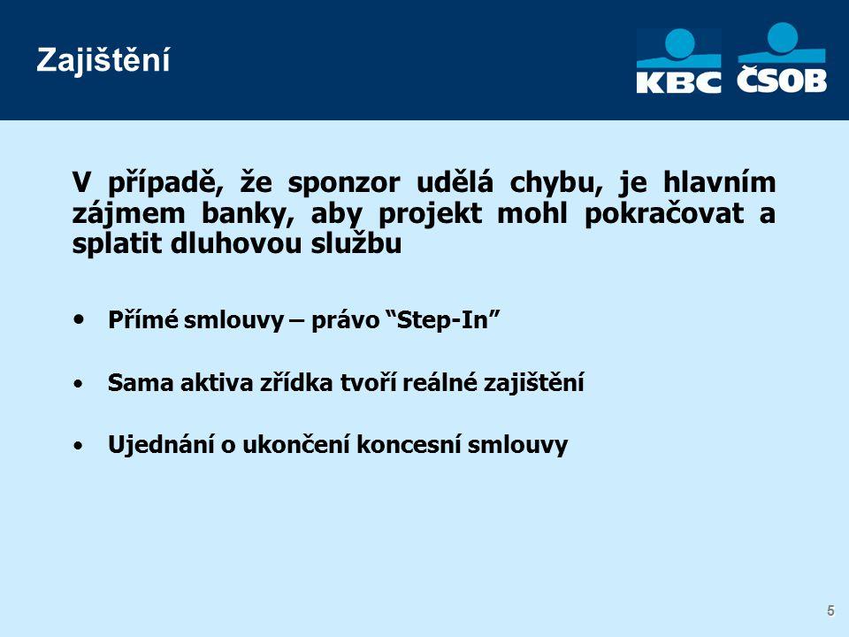 5 5 V případě, že sponzor udělá chybu, je hlavním zájmem banky, aby projekt mohl pokračovat a splatit dluhovou službu Přímé smlouvy – právo Step-In Sama aktiva zřídka tvoří reálné zajištění Ujednání o ukončení koncesní smlouvy Zajištění