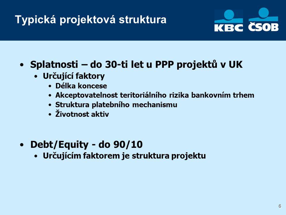 6 6 Typická projektová struktura Splatnosti – do 30-ti let u PPP projektů v UK Určující faktory Délka koncese Akceptovatelnost teritoriálního rizika bankovním trhem Struktura platebního mechanismu Životnost aktiv Debt/Equity - do 90/10 Určujícím faktorem je struktura projektu