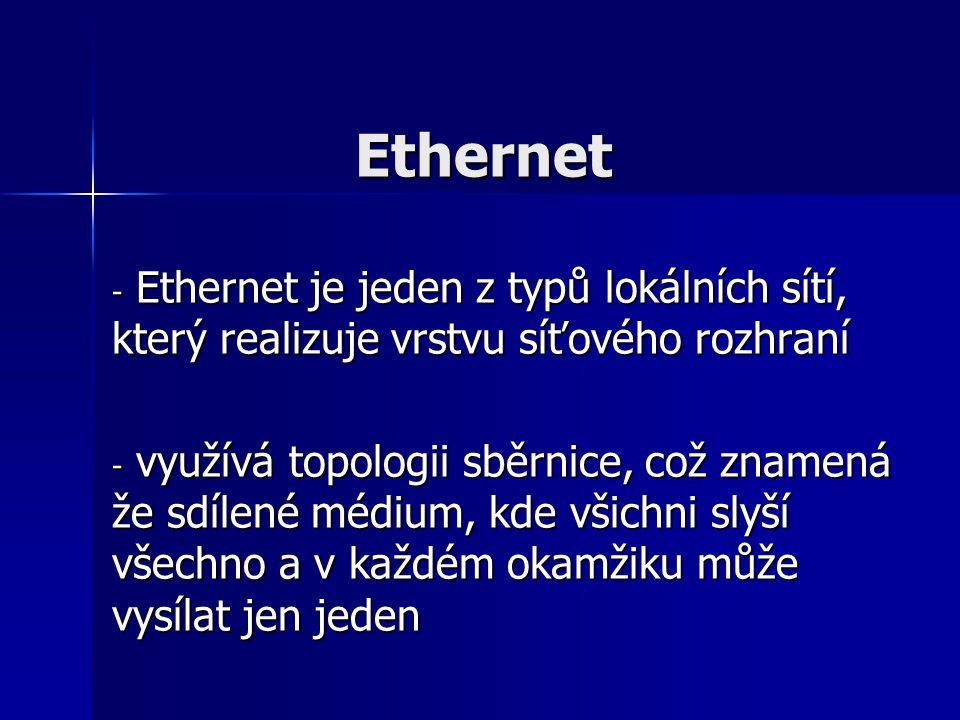 Ethernet - Ethernet je jeden z typů lokálních sítí, který realizuje vrstvu síťového rozhraní - využívá topologii sběrnice, což znamená že sdílené médi