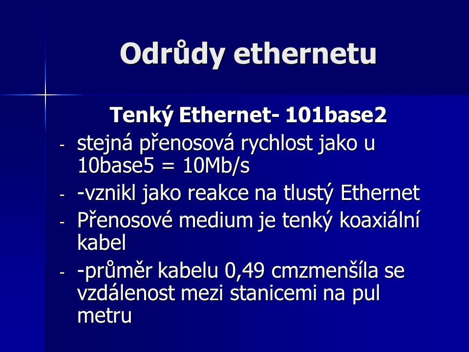 Odrůdy ethernetu Tenký Ethernet- 101base2 - stejná přenosová rychlost jako u 10base5 = 10Mb/s - -vznikl jako reakce na tlustý Ethernet - Přenosové med