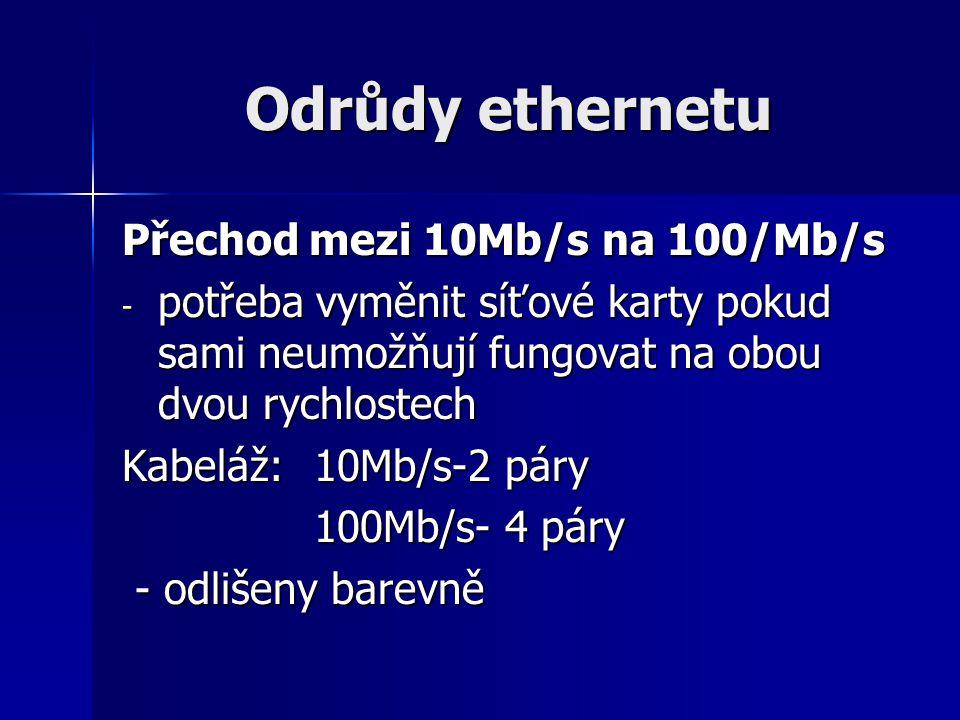 Odrůdy ethernetu Přechod mezi 10Mb/s na 100/Mb/s - potřeba vyměnit síťové karty pokud sami neumožňují fungovat na obou dvou rychlostech Kabeláž:10Mb/s