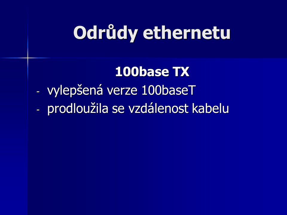 Odrůdy ethernetu 100base TX - vylepšená verze 100baseT - prodloužila se vzdálenost kabelu