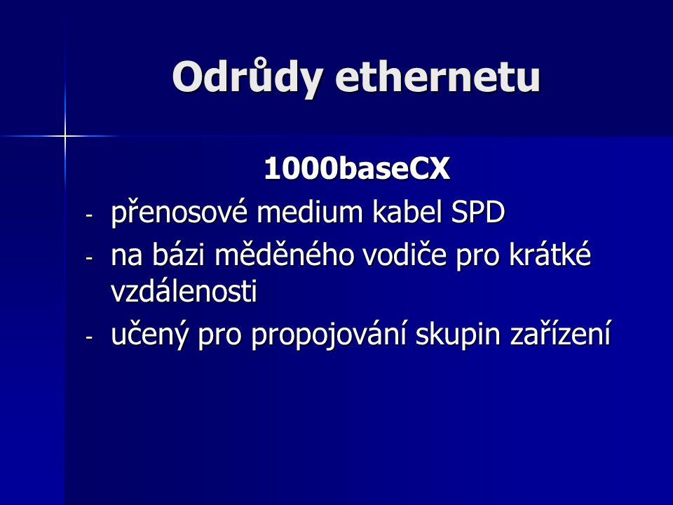Odrůdy ethernetu 1000baseCX - přenosové medium kabel SPD - na bázi měděného vodiče pro krátké vzdálenosti - učený pro propojování skupin zařízení