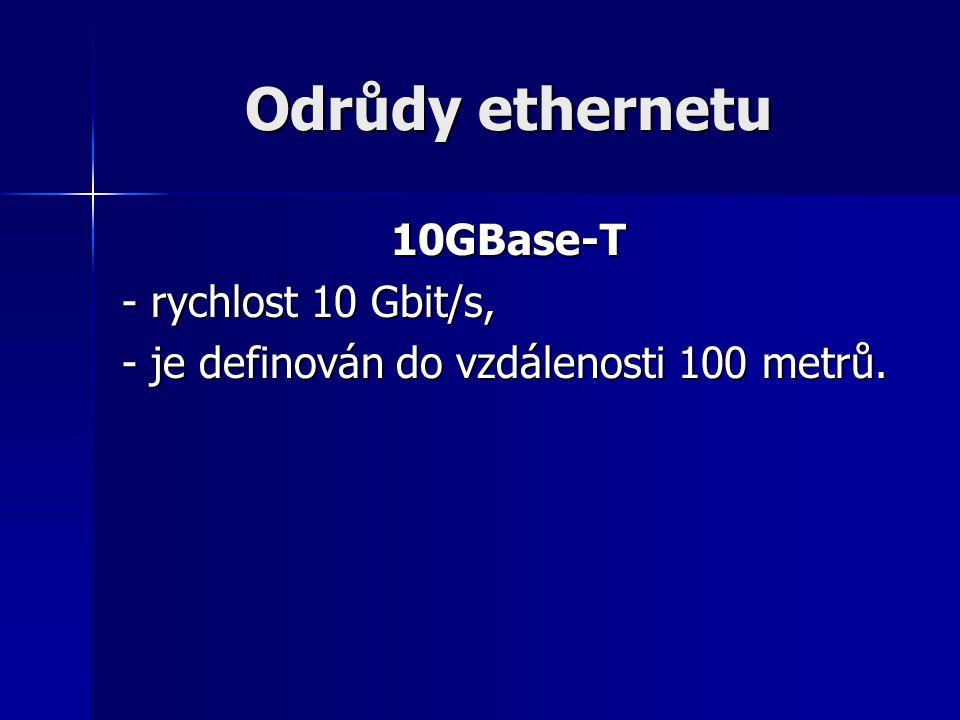 Odrůdy ethernetu 10GBase-T - rychlost 10 Gbit/s, - je definován do vzdálenosti 100 metrů.