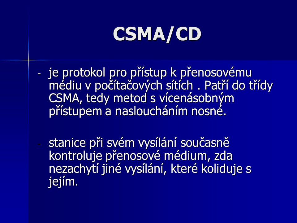 CSMA/CD - je protokol pro přístup k přenosovému médiu v počítačových sítích. Patří do třídy CSMA, tedy metod s vícenásobným přístupem a nasloucháním n