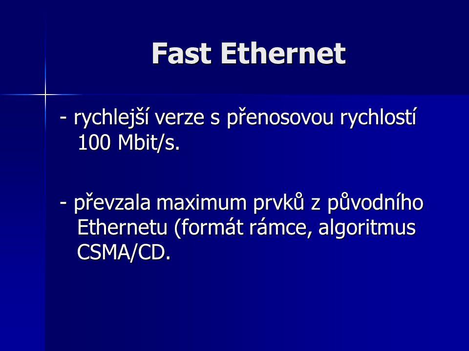 Fast Ethernet - rychlejší verze s přenosovou rychlostí 100 Mbit/s. - převzala maximum prvků z původního Ethernetu (formát rámce, algoritmus CSMA/CD.