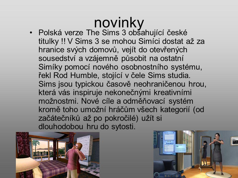 novinky Polská verze The Sims 3 obsahující české titulky !.
