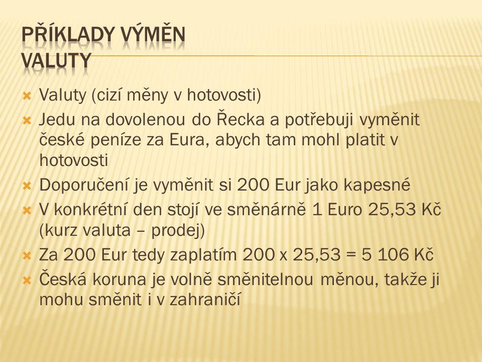  Valuty (cizí měny v hotovosti)  Jedu na dovolenou do Řecka a potřebuji vyměnit české peníze za Eura, abych tam mohl platit v hotovosti  Doporučení