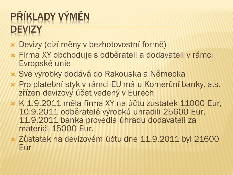  Devizy (cizí měny v bezhotovostní formě)  Firma XY obchoduje s odběrateli a dodavateli v rámci Evropské unie  Své výrobky dodává do Rakouska a Něm
