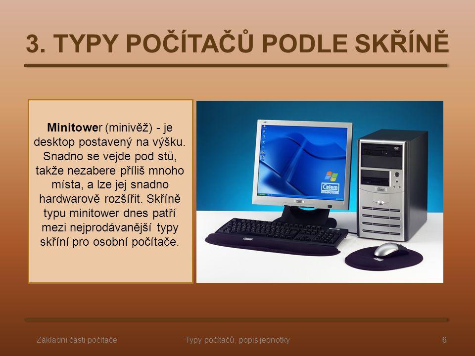 Minitower (minivěž) - je desktop postavený na výšku.