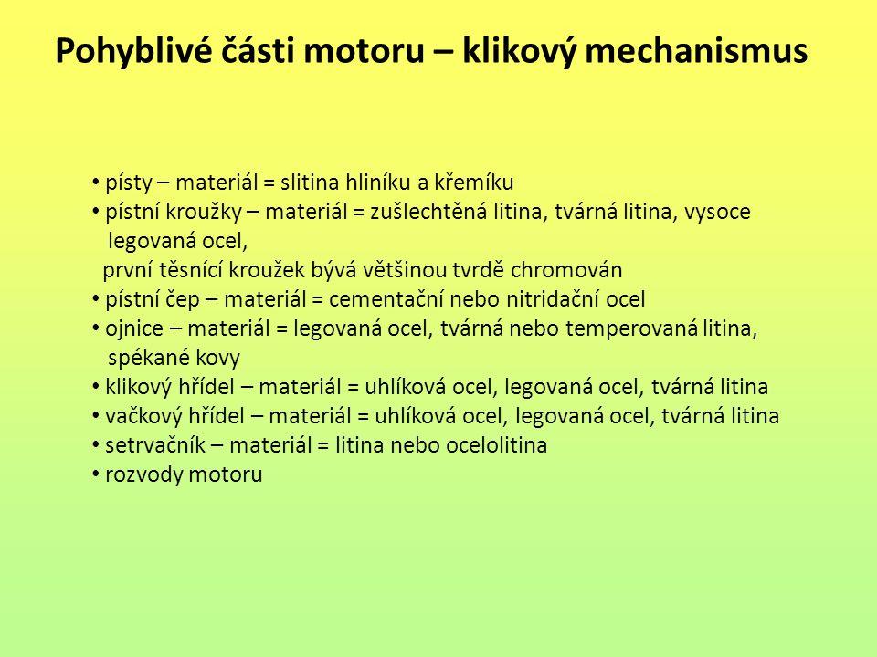 Pohyblivé části motoru – klikový mechanismus písty – materiál = slitina hliníku a křemíku pístní kroužky – materiál = zušlechtěná litina, tvárná litin