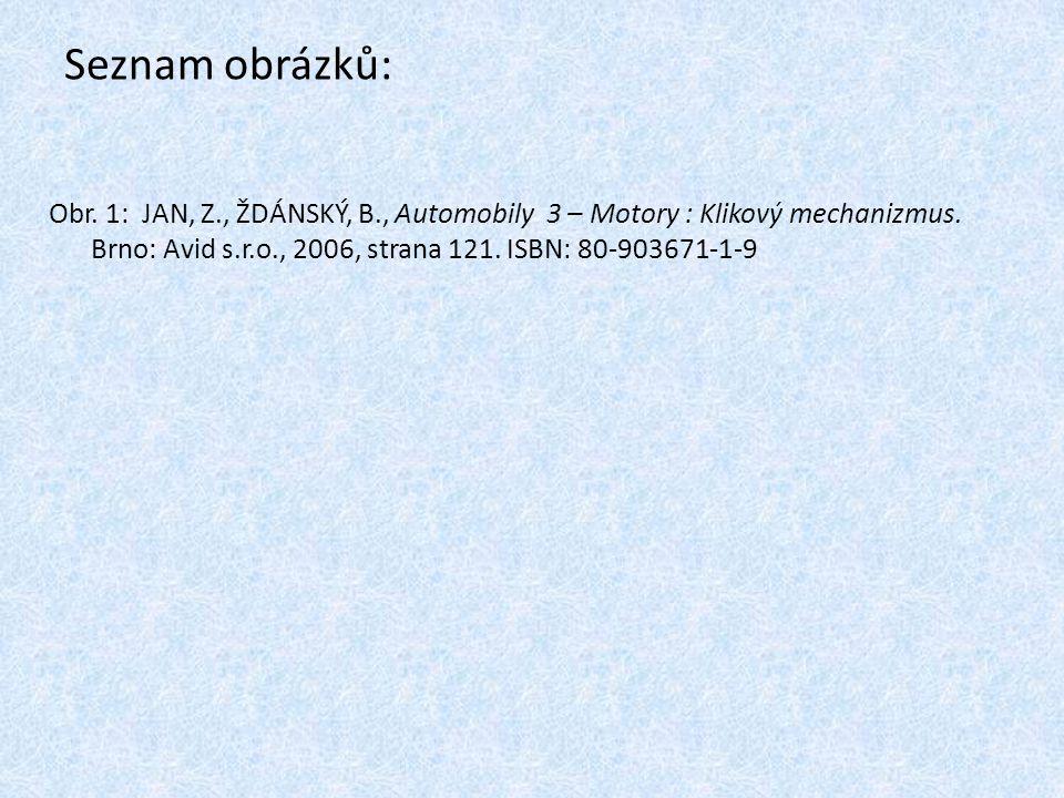 Seznam obrázků: Obr. 1: JAN, Z., ŽDÁNSKÝ, B., Automobily 3 – Motory : Klikový mechanizmus. Brno: Avid s.r.o., 2006, strana 121. ISBN: 80-903671-1-9