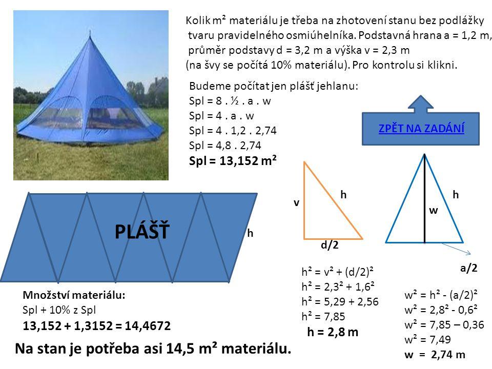 Kolik m² materiálu je třeba na zhotovení stanu bez podlážky tvaru pravidelného osmiúhelníka. Podstavná hrana a = 1,2 m, průměr podstavy d = 3,2 m a vý