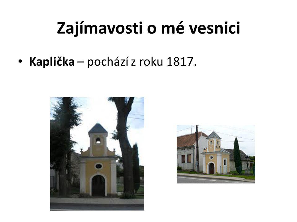 Zajímavosti o mé vesnici Kaplička – pochází z roku 1817.