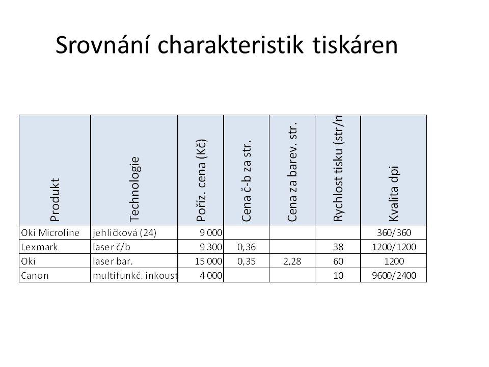 Srovnání charakteristik tiskáren