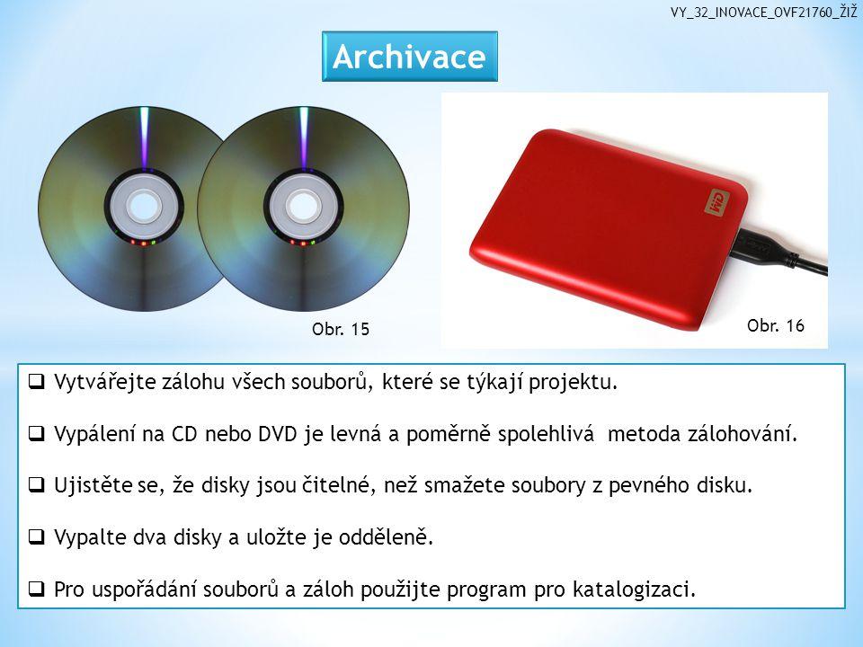Obr. 15  Vytvářejte zálohu všech souborů, které se týkají projektu.