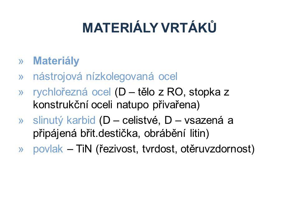 MATERIÁLY VRTÁKŮ »Materiály »nástrojová nízkolegovaná ocel »rychlořezná ocel (D – tělo z RO, stopka z konstrukční oceli natupo přivařena) »slinutý karbid (D – celistvé, D – vsazená a připájená břit.destička, obrábění litin) »povlak – TiN (řezivost, tvrdost, otěruvzdornost)