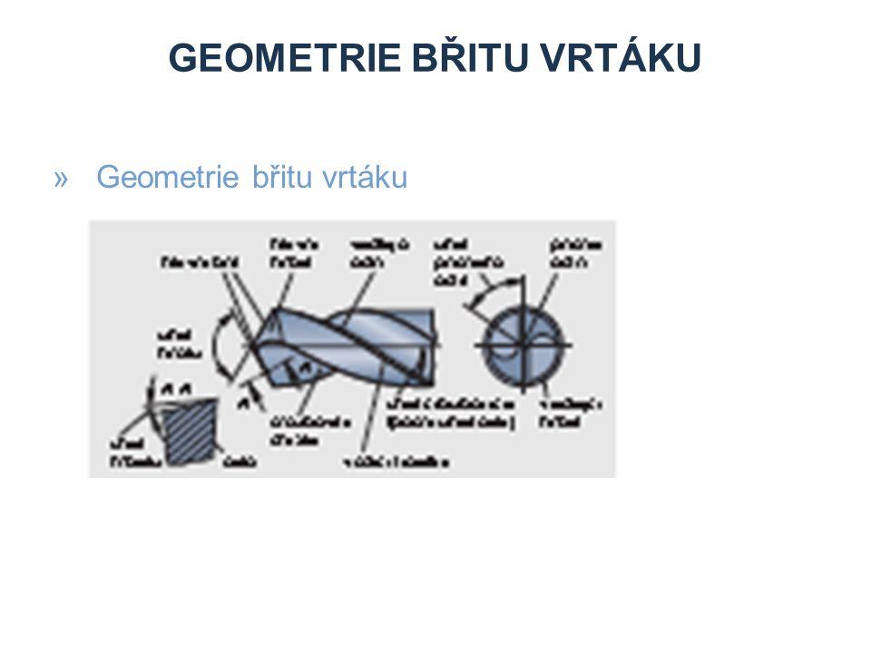 GEOMETRIE BŘITU VRTÁKU »Geometrie břitu vrtáku
