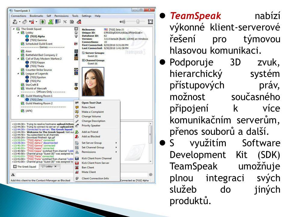 TeamSpeak nabízí výkonné klient-serverové řešení pro týmovou hlasovou komunikaci.