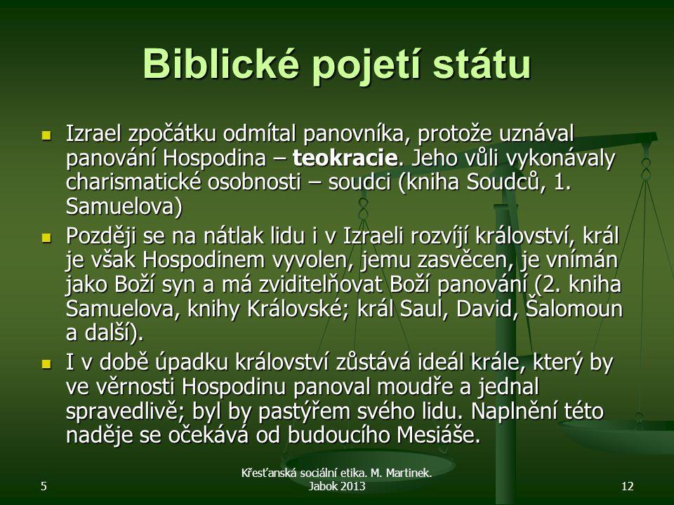 5 Křesťanská sociální etika. M. Martinek. Jabok 201312 Biblické pojetí státu Izrael zpočátku odmítal panovníka, protože uznával panování Hospodina – t