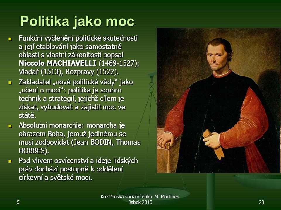 5 Křesťanská sociální etika. M. Martinek. Jabok 201323 Politika jako moc Funkční vyčlenění politické skutečnosti a její etablování jako samostatné obl