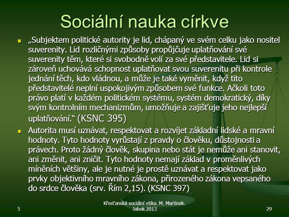 """Sociální nauka církve """"Subjektem politické autority je lid, chápaný ve svém celku jako nositel suverenity. Lid rozličnými způsoby propůjčuje uplatňová"""