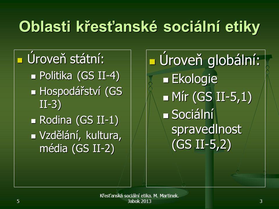 5 Křesťanská sociální etika. M. Martinek. Jabok 20133 Oblasti křesťanské sociální etiky Úroveň státní: Úroveň státní: Politika (GS II-4) Politika (GS