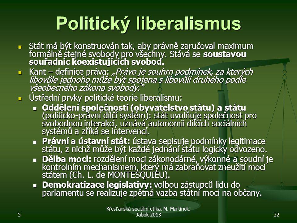 5 Křesťanská sociální etika. M. Martinek. Jabok 201332 Politický liberalismus Stát má být konstruován tak, aby právně zaručoval maximum formálně stejn