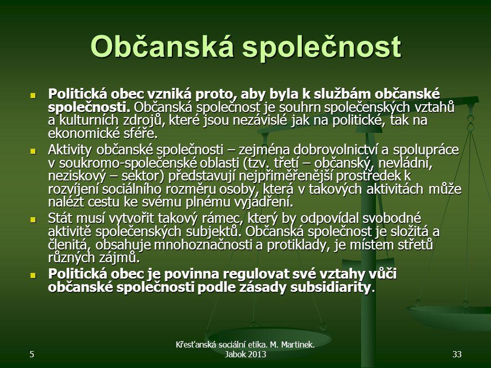 5 Křesťanská sociální etika. M. Martinek. Jabok 201333 Občanská společnost Politická obec vzniká proto, aby byla k službám občanské společnosti. Občan