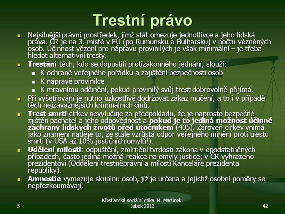 5 Křesťanská sociální etika. M. Martinek. Jabok 201342 Trestní právo Nejsilnější právní prostředek, jímž stát omezuje jednotlivce a jeho lidská práva.