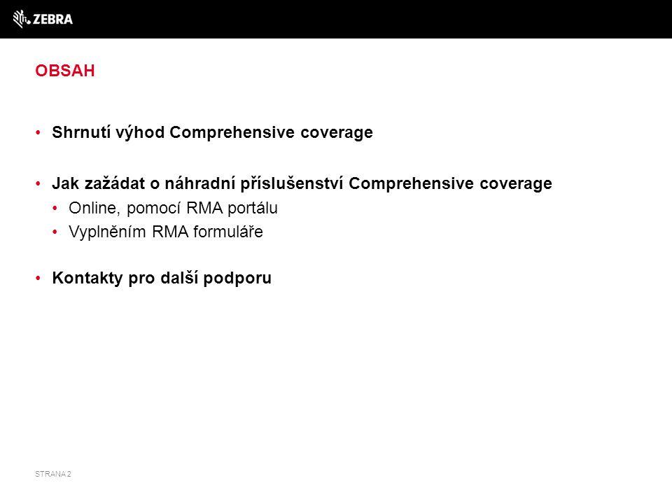 OBSAH Shrnutí výhod Comprehensive coverage Jak zažádat o náhradní příslušenství Comprehensive coverage Online, pomocí RMA portálu Vyplněním RMA formul