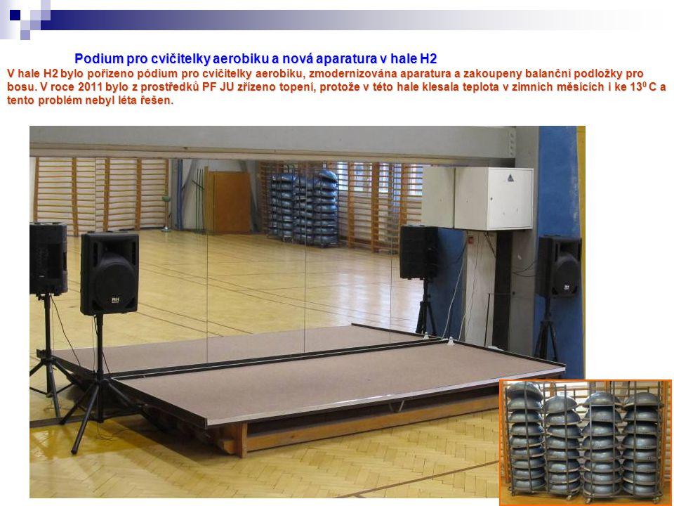 Podium pro cvičitelky aerobiku a nová aparatura v hale H2 V hale H2 bylo pořízeno pódium pro cvičitelky aerobiku, zmodernizována aparatura a zakoupeny balanční podložky pro bosu.