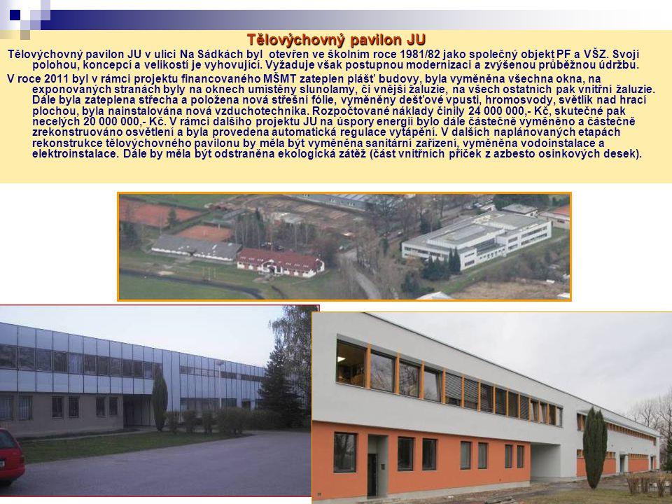 Tělovýchovný pavilon JU Tělovýchovný pavilon JU v ulici Na Sádkách byl otevřen ve školním roce 1981/82 jako společný objekt PF a VŠZ.
