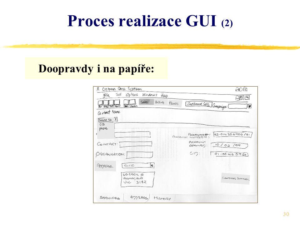 30 Proces realizace GUI (2) Doopravdy i na papíře: