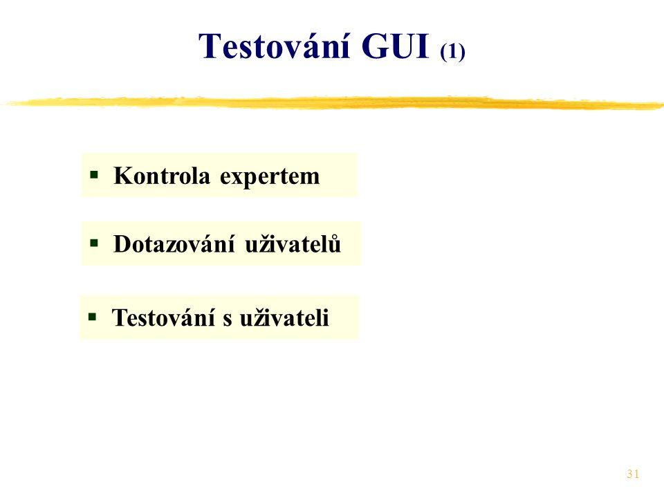 31 Testování GUI (1)  Kontrola expertem  Dotazování uživatelů  Testování s uživateli