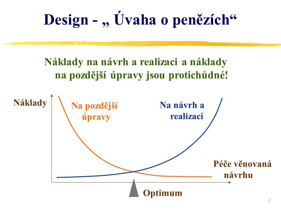 """5 Design - """" Úvaha o penězích Náklady na návrh a realizaci a náklady na pozdější úpravy jsou protichůdné."""