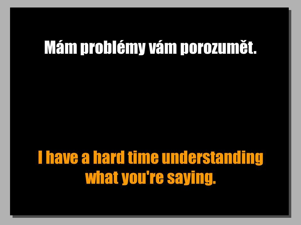 Mám problémy vám porozumět. I have a hard time understanding what you re saying.