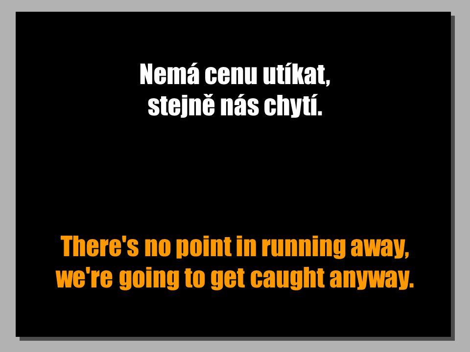 Nemá cenu utíkat, stejně nás chytí. There's no point in running away, we're going to get caught anyway.